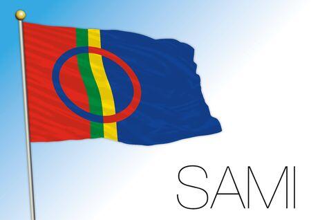 Sami official national flag, north europe, vector illustration Ilustração