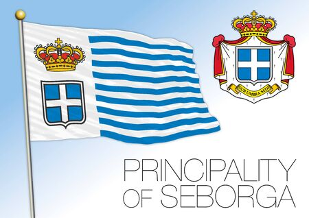 Seborga principality unofficial flag and coat of arms, Italy, vector illustration