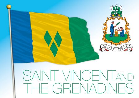 Saint Vincent and Grenadine official national flag and coat of arms, antilles, vector illustration Vecteurs