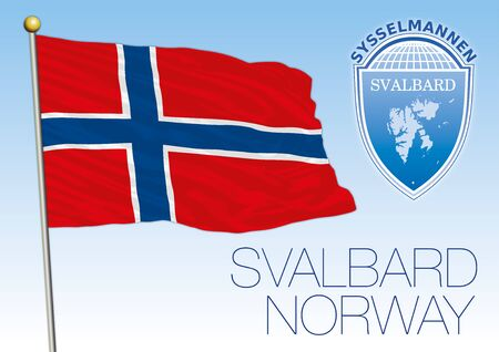 Svalbard official national flag and coat of arms, Norway, vector illustration