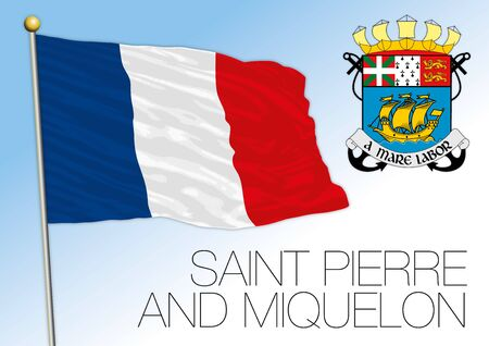 Saint Pierre and Miquelon official national flag and coat of arms, french territory, vector illustration