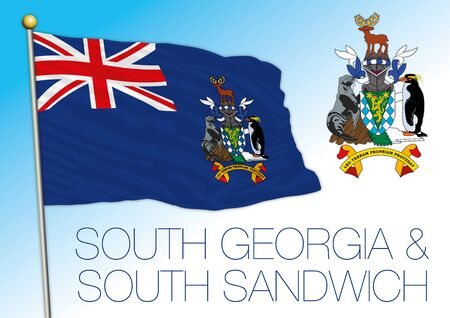 South Georgia and South Sandwich islands official national flag and coat of arms, vector illustration