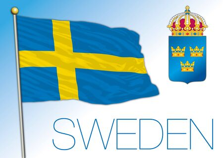 Sweden official national flag and coat of arms, europe, vector illustration Vettoriali