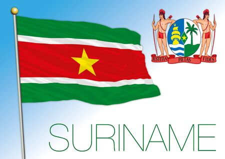 Suriname official national flag and coat of arms, south america, vector illustration