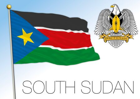 South Sudan official national flag and coat of arms, africa, vector illustration