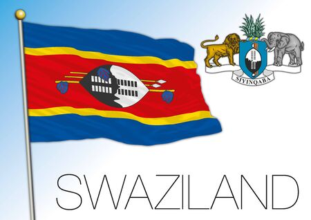 Swaziland official national flag and coat of arms, african country, vector illustration