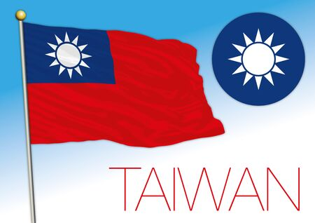 Taiwan official national flag and coat of arms, asiatic country, vector illustration