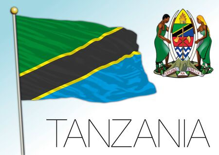 Tanzania official national flag and coat of arms, african country, vector illustration Vettoriali