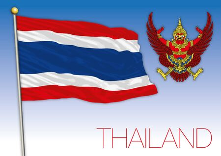 Thailand official national flag and coat of arms, asiatic country, vector illustration