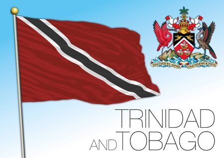 Trinidad and Tobago official national flag and coat of arms, caribbean country, vector illustration