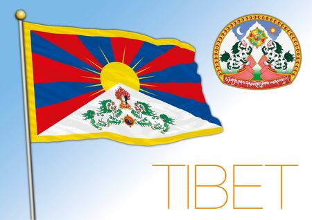 Tibet official national flag and coat of arms, asiatic territory, vector illustration Vettoriali