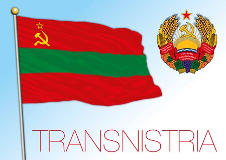 Transnistria official national flag and coat of arms, european country, vector iullustration