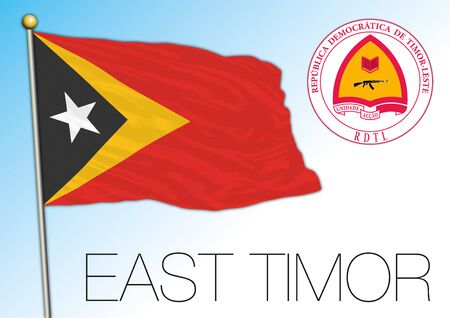 East Timor official national flag and coat of arms, asiatic country, vector illustration Vettoriali