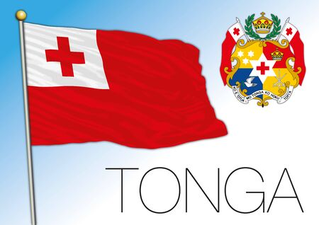 Tonga official national flag and coat of arms, oceania, vector illustration