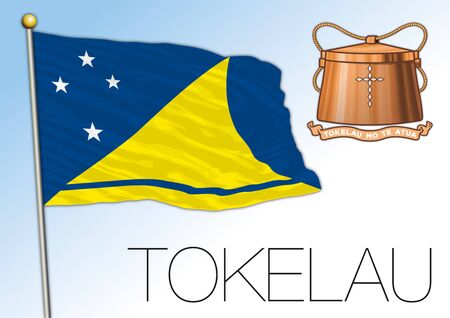 Tokelau official national flag and coat of arms, oceania, vector illustration