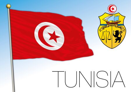 Tunisia official national flag and coat of arms, african country, vector illustration