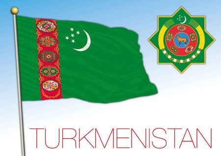 Turkmenistan official national flag and coat of arms, asiatic country, vector illustration Vettoriali