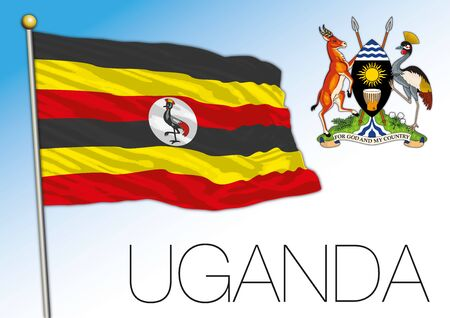 Uganda official national flag and coat of arms, african country, vector illustration