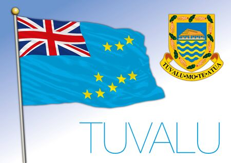 Tuvalu official national flag and coat of arms, oceania, vector illustration