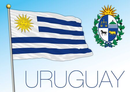 Uruguay offiicial national flag and coat of arms, south america, vector illustration