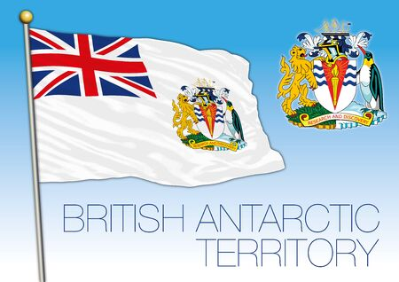 British Antarctic Territory official national flag and coat of arms, vector illustration