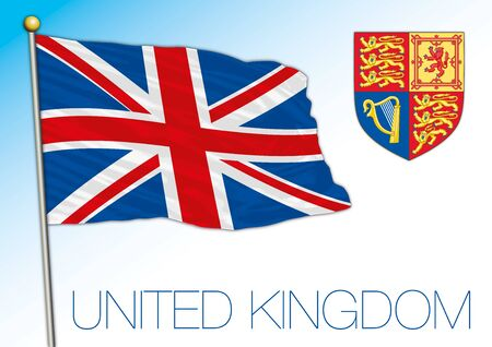 United Kingdom official national flag and coat of arms, Europe, vector illustratiion Vettoriali