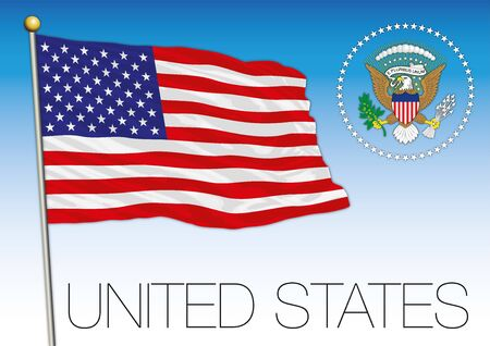 United States of America official national flag and coat of arms, USA, vector illustration Vettoriali