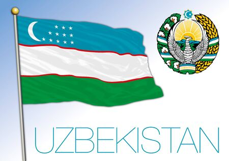 Uzbekistan official national flag and coat of arms, asiatic country, vector illustration 矢量图像