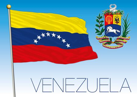 Bolivarian Republic of Venezuela official national flag and coat of arms, south america, vector illustration
