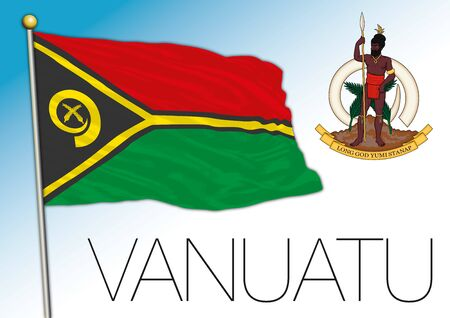 Vanuatu official national flag and coat of arms, oceania, vector illustration Vettoriali