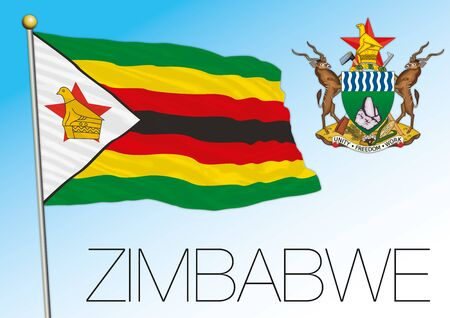 Zimbabwe official national flag and coat of arms, african country, vector illustration Vettoriali