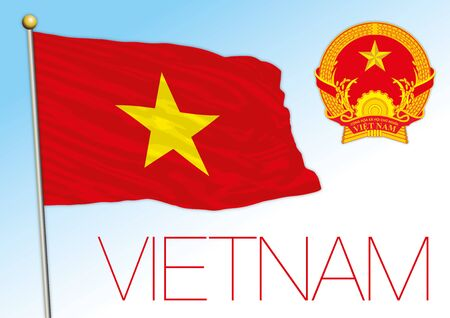 Vietnam official national flag and coat of arms, asiatic country, cvector illustration