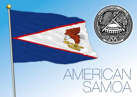 American Samoa Islands official national flag and coat of arms, pacific ocean, vector illustration Vettoriali