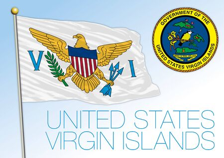 United States Virgin Islands, official national flag and coat of arms, antilles, vector illustration Vettoriali