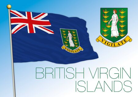 British Virgin Islands official national flag and coat of arms, antilles, vector illustration Vettoriali