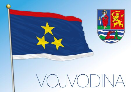 Vojvodina official national flag and coat of arms, Serbia, vector illustration