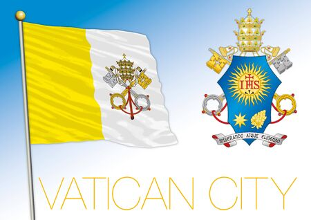 Vatican Holy See official national flag and coat of arms, Rome, vector illustration