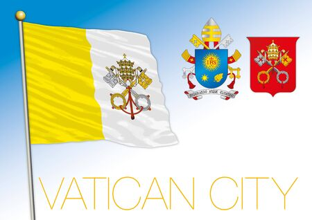 Vatikan Heiliger Stuhl offizielle Nationalflagge und Wappen, Rom, Vektorillustration
