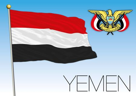 Yemen flag and coat of arms, asiatic country Archivio Fotografico