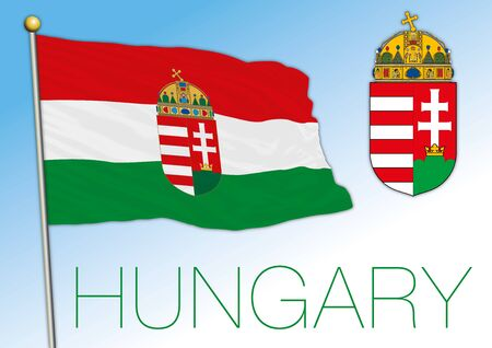 Hungary official national flag and coat of arms, European Union, vector illustration