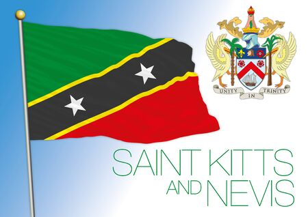Saint Kitts and Nevis islands official national flag and coat of arms, antilles, vector illustration