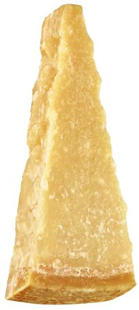 Italian parmesan cheese cropped on the white background, clove cut from a larger shape, italian food