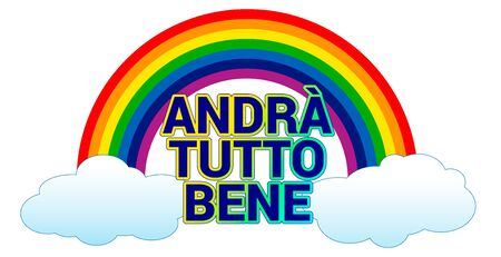 Rainbow symbol of hope to hang on windows and balconies in Italy, everything will be fine Vettoriali