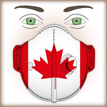 Antiviral mask for anti virus protection with Canada flag, vector illustration