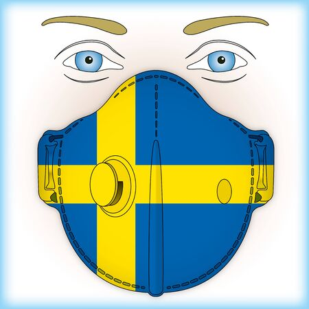 Antiviral mask for anti virus protection with Sweden flag, vector illustration