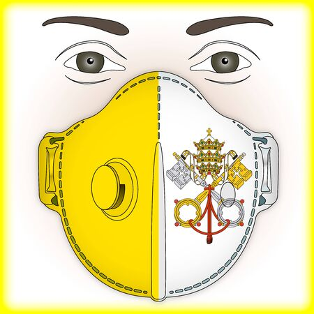 Antiviral mask for anti virus protection with Vatican City, Holy See flag, vector illustration