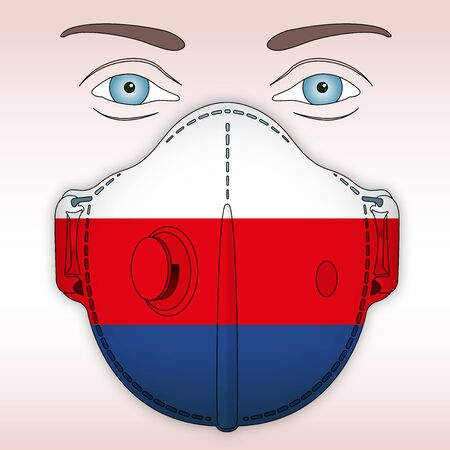 Antiviral mask for anti virus protection with Russia flag, vector illustration Vettoriali