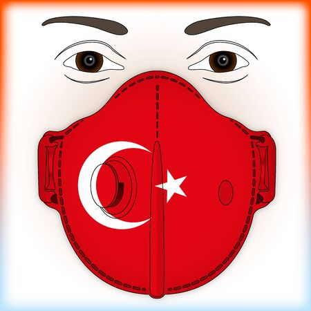 Antiviral mask for anti virus protection with Turkey flag, vector illustration