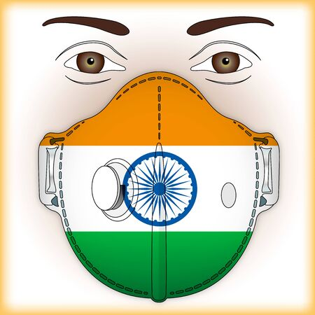 Antiviral mask for anti virus protection with India flag, vector illustration Vettoriali