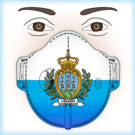 Antiviral mask for anti virus protection with San Marino flag, vector illustration